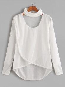 Camiseta asimétrica cruzada en la parte delantera cuello con gargantilla - blanco
