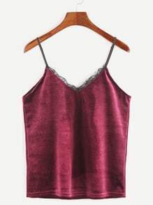 Burgundy Velvet Eyelash Lace Trim Cami Top