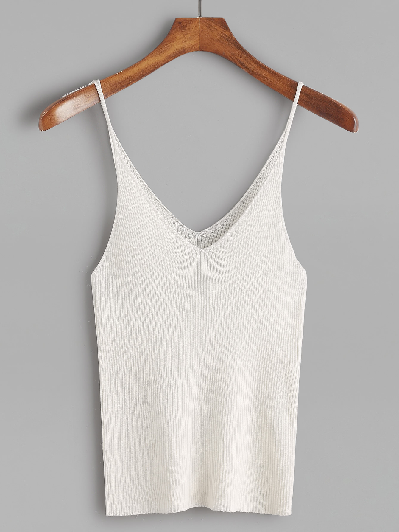 White Ribbed Knit Tight Cami Top