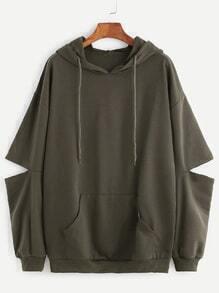 Drop Shoulder Elbow Cutout Hooded Pocket Sweatshirt