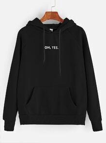 Hoodie Druck mit Buchstaben und Raglan Ärmel Tunnelzug mit Tasche-schwarz