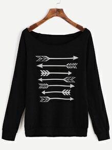 Sweat-shirt imprimé flèche à décolleté à manche raglan -noir