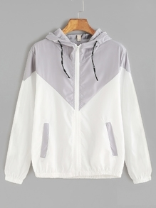 Contrast Zip Up Drawstring Hooded Jacket