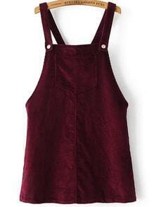 Robe velours côtelé avec poche -bordeaux rouge
