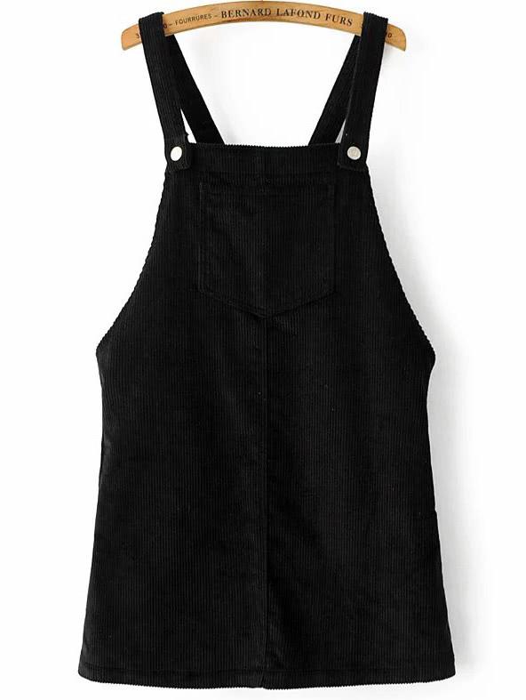 Black Corduroy Overall Dress With Pocketfor Women Romwe