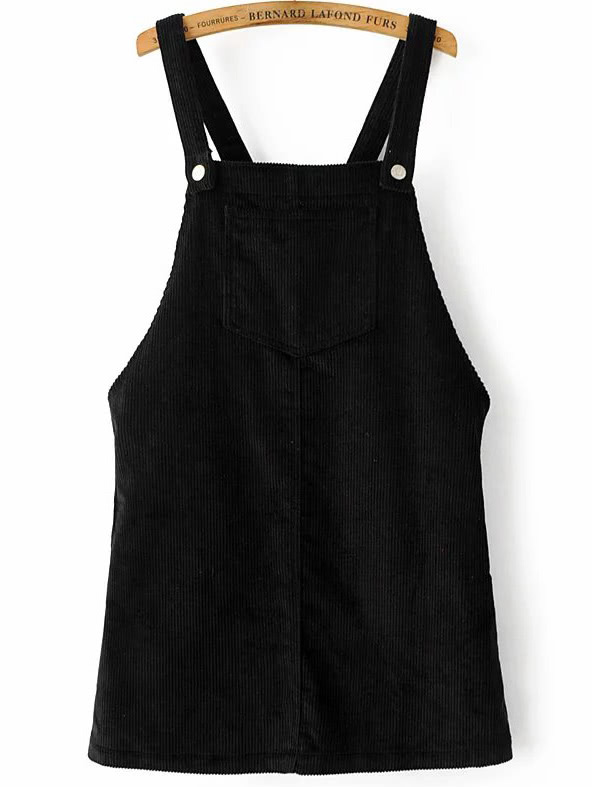 Black Corduroy Overall Dress With Pocket dress161221202