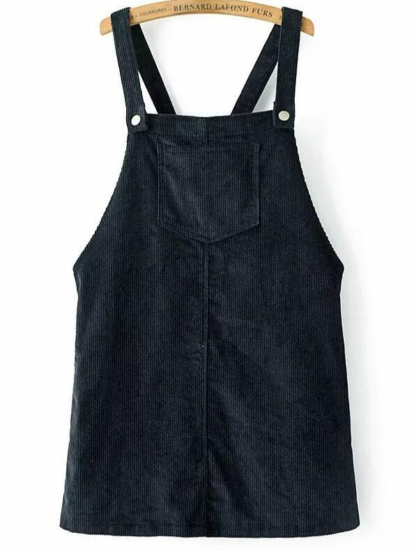 Navy Corduroy Overall Dress With Pocket