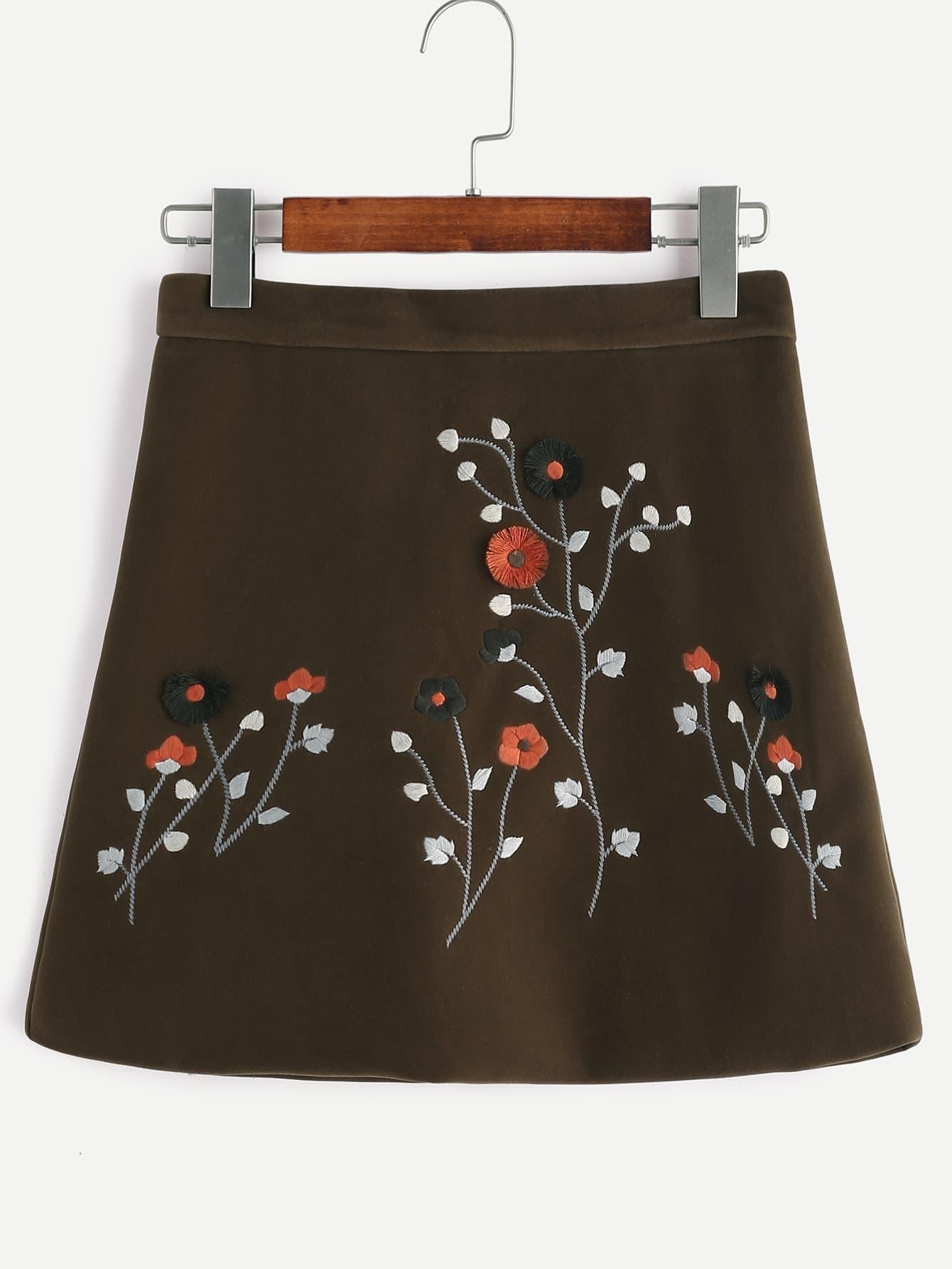 Army Green Velvet Flower Embroidered A-line Skirt
