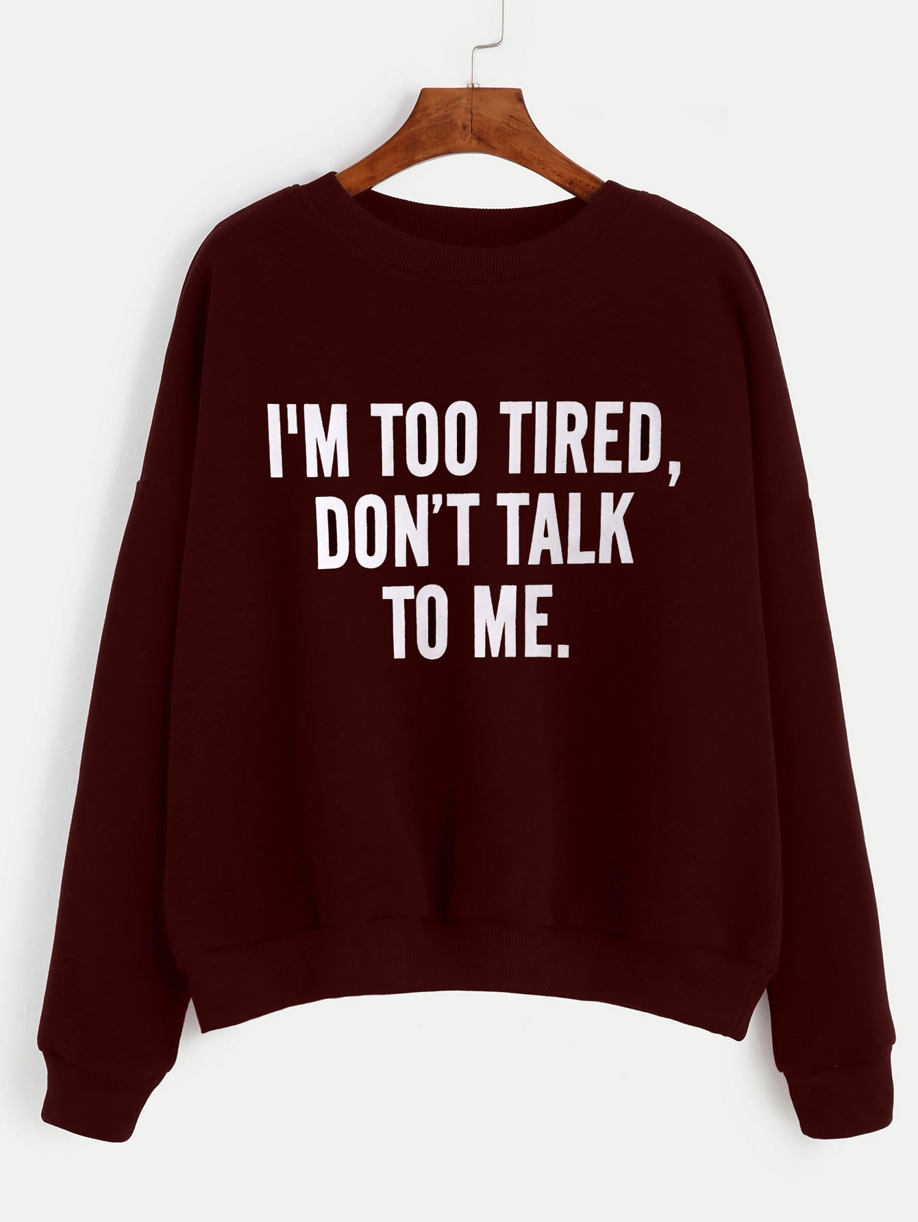 Burgundy Letter Print Drop Shoulder Seam Sweatshirt