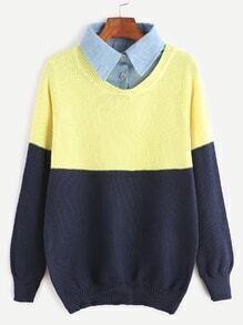 Jersey con cuello de blusa 2 en 1 - color block