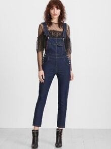 Deep Blue Strap Button Side Overall Jeans