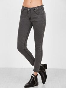 Grey Frayed Hem Ring Accent Skinny Jeans