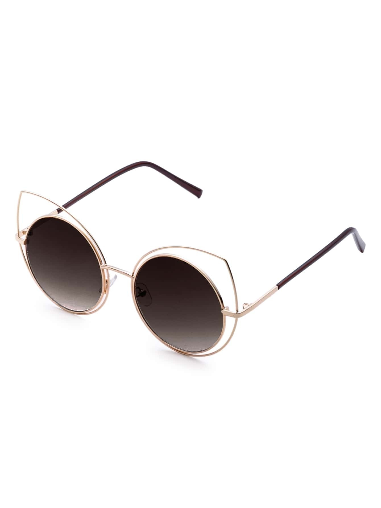 Gold Frame Brwon Lens Cat Eye Sunglasses