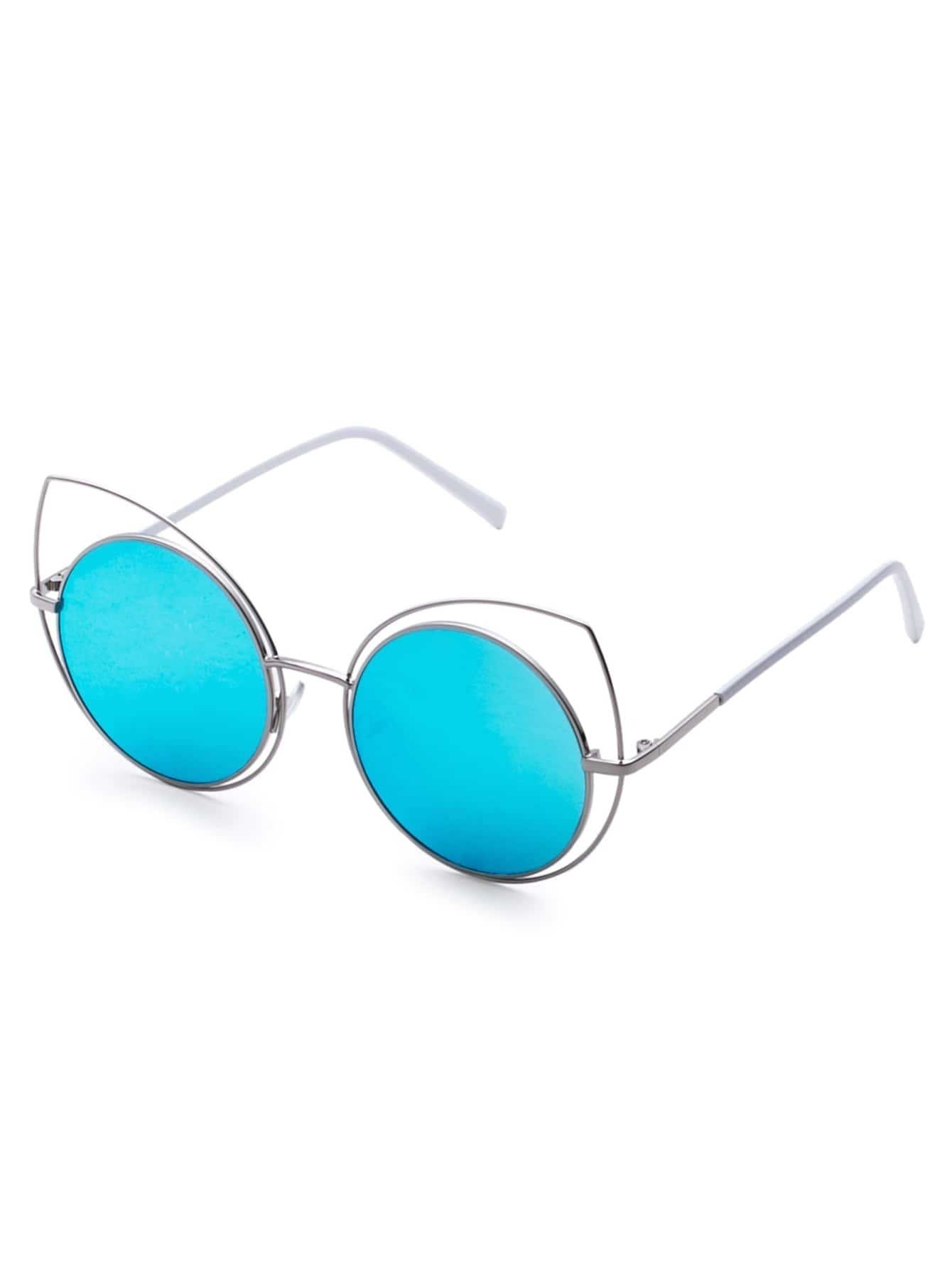 Gold Frame Blue Lens Cat Eye Sunglasses