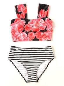 Striped Floral Print Bikini Set