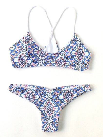 Blue Printed Cross Back Bikini Set