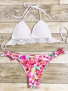 Sets de bikini con estampado floral de croché mix & match