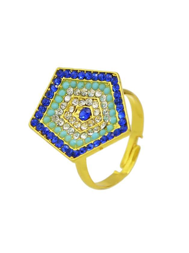 Золотой цвет горный хрусталь регулируемые кольца Пентагона