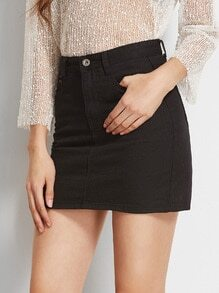 Black Pockets Bodycon Denim Skirt