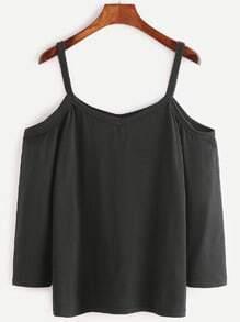 T-shirt à l'épaules fendues à manches courts -noir