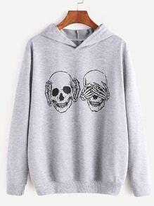 Light Grey Skull Print Hooded Sweatshirt