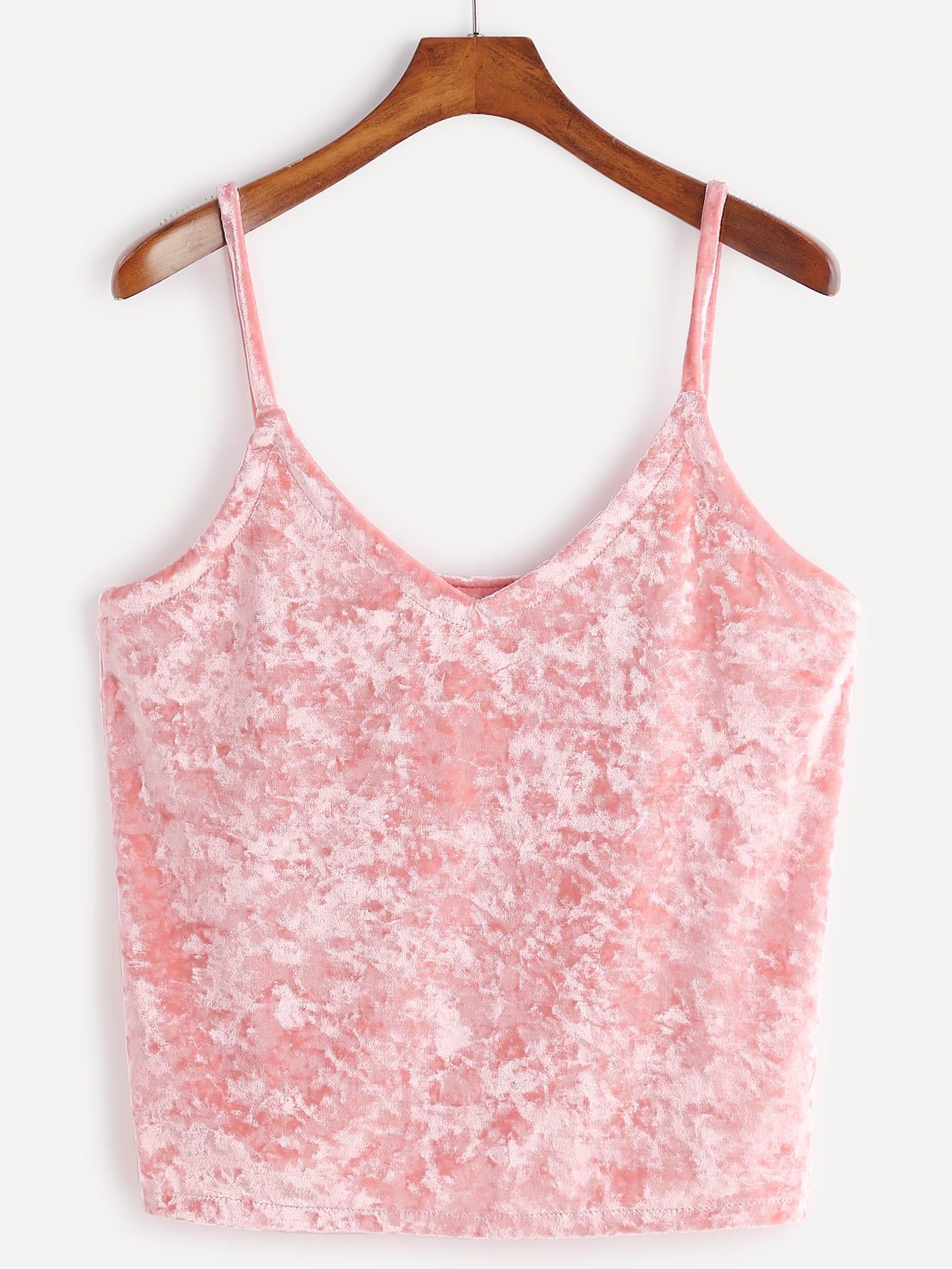 Pink Velvet Cami Topfor Women Romwe