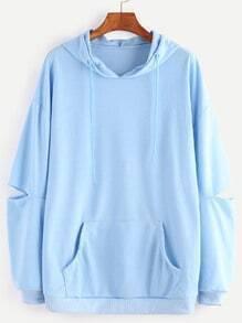 Buy Blue Drop Shoulder Elbow Cutout Hooded Pocket Sweatshirt