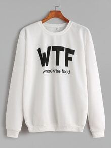 Sweat-shirt imprimé lettre -blanc