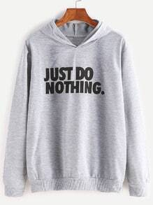 Pale Grey Slogan Print Hooded Sweatshirt