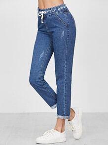 Jeans avec cordon sur taille avec tape détail poigneté -bleu