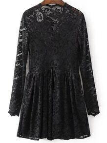 Vestido de encaje con escote V - negro