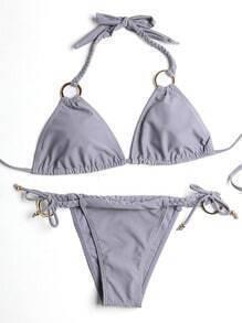 Grey Ring Detail Braided Strap Triangle Bikini Set