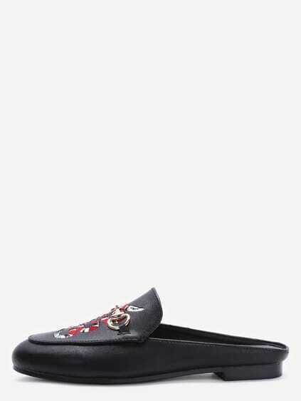 Black Faux Leather Snake Embroidered Slip-on Shoes