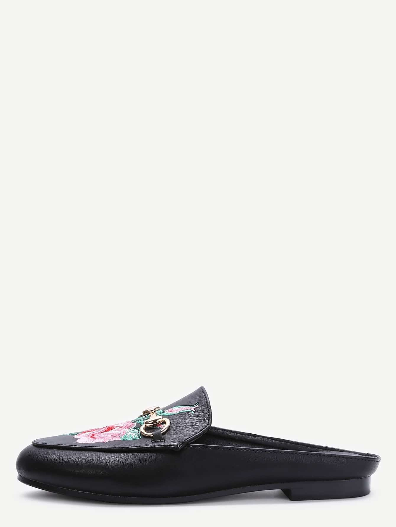 Black Faux Leather Rose Embroidered Slip-on Shoes