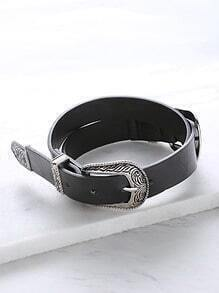 Black Double Silver Buckle Western Belt