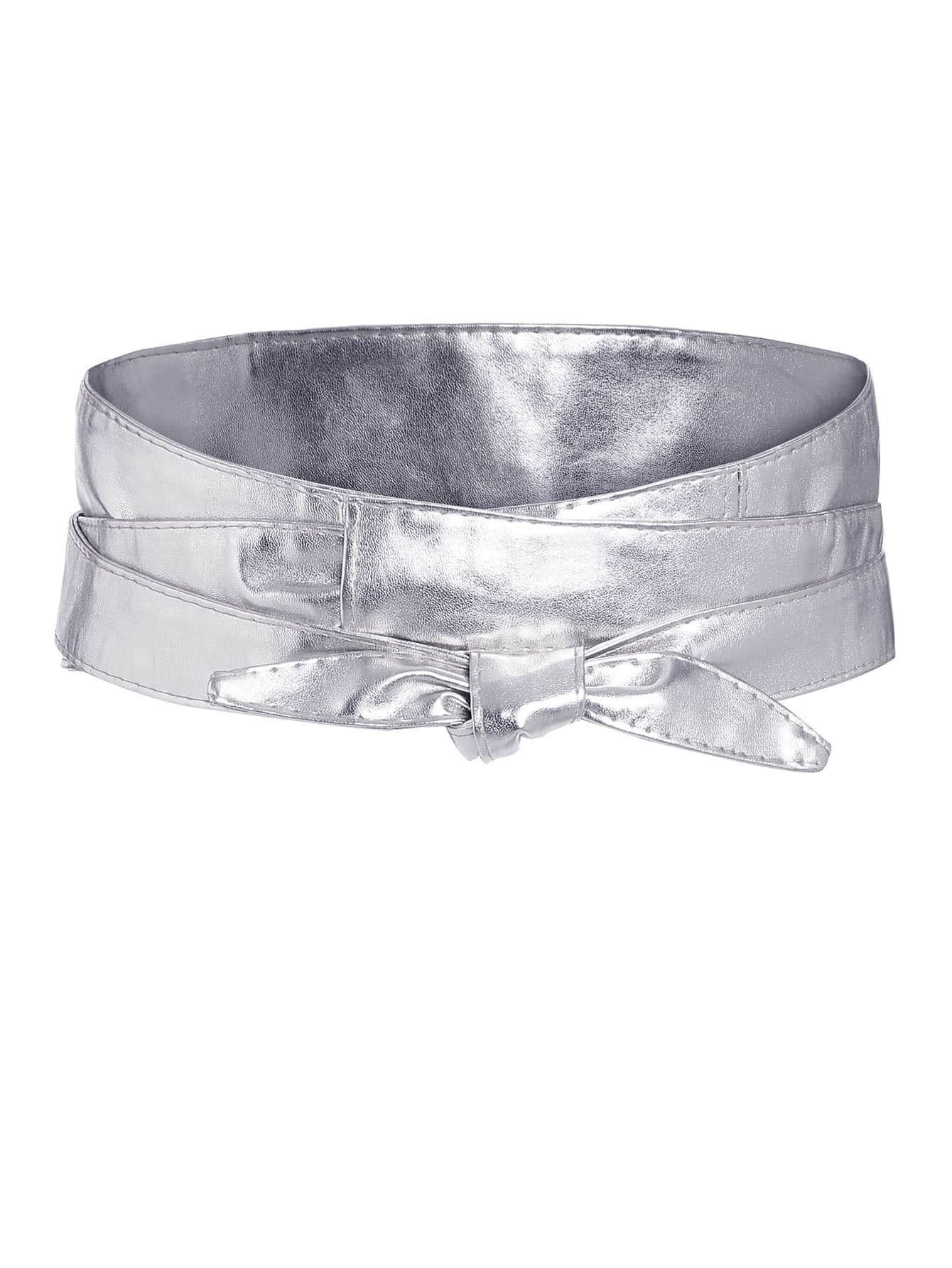 sparkly silver knotted front wide belt