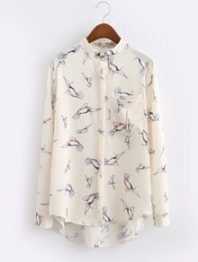 Beige Kingfisher Print High Low Blouse