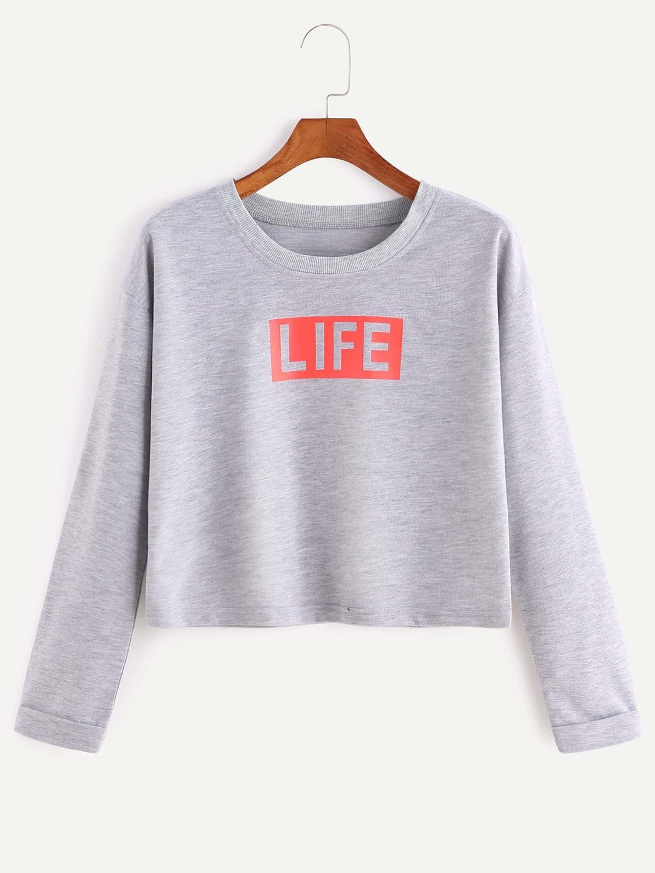 Heather Grey Life Print Crop T-shirt
