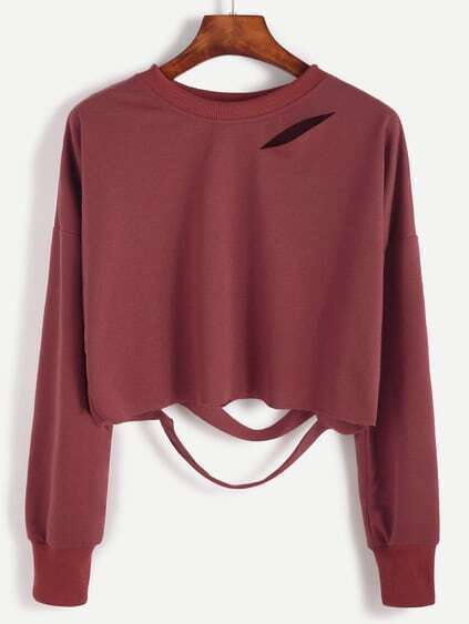 Brick Red Drop Shoulder Cut Out Crop T-shirt