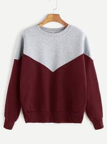Burgundy Contrast Dropped Shoulder Seam Sweatshirt