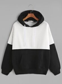 Black White Contrast Drop Shoulder Pocket Drawstring Hoodie