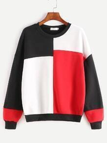 Color Block Dropped Shoulder Seam Sweatshirt
