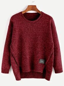 Burgundy Dip Hem Slit Patch Detail Sweater