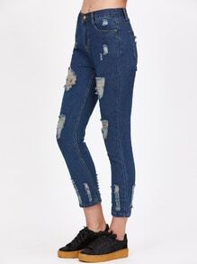 Deep Blue Ripped Skinny Jeans