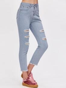 Blue Fringe Hem Ripped Skinny Jeans