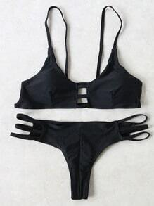 Black Ladder Cutout Push Up Bikini Set
