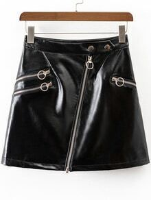 Black Oblique Zipper Faux Leather Skirt