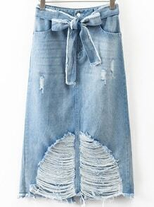 Blue Ripped Denim Skirt With Bow Tie