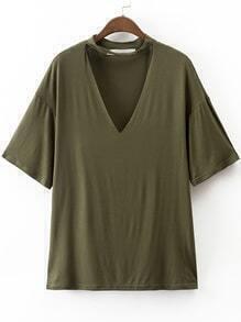 T-Shirt décontracté à col en V avec ras-du-cou -vert d'armée