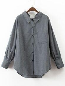 Vertikale gestreifte Ring-Detail Hohe niedrige Bluse mit Tasche